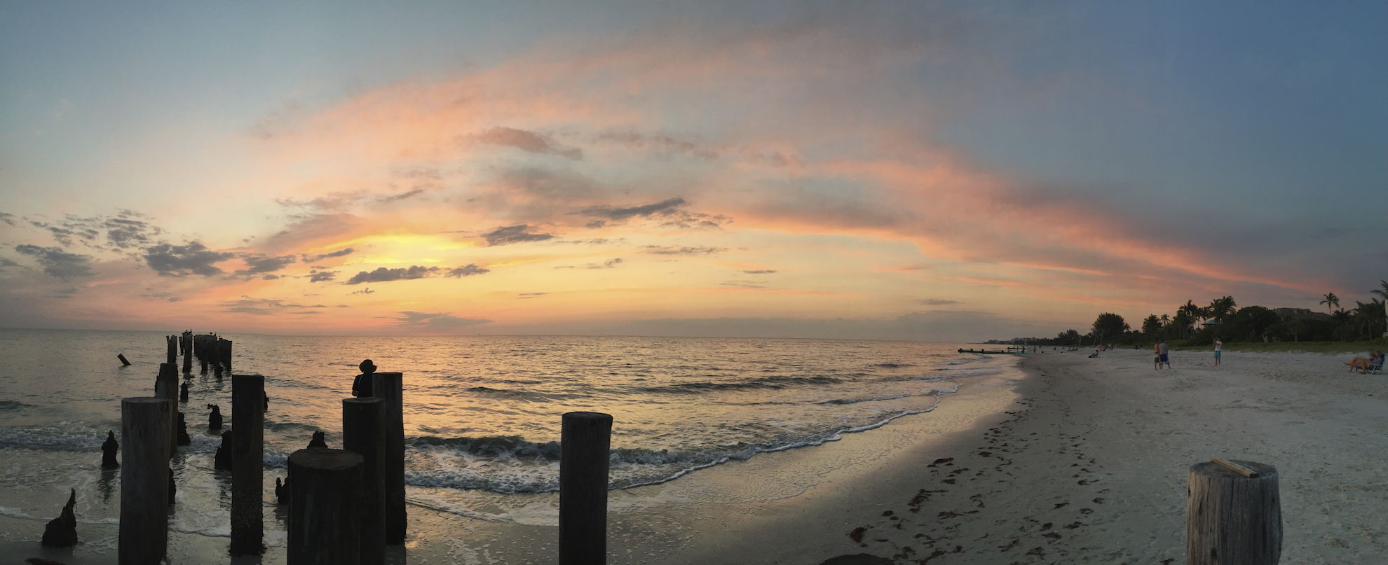One multicolored sunset in Naples, FL at 3rd Ave S Panoramic